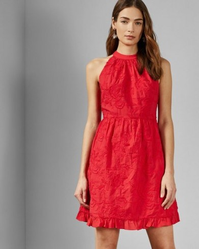 TED BAKER LORENE Halter neck skater embroidery dress in red / embroidered flowers - flipped
