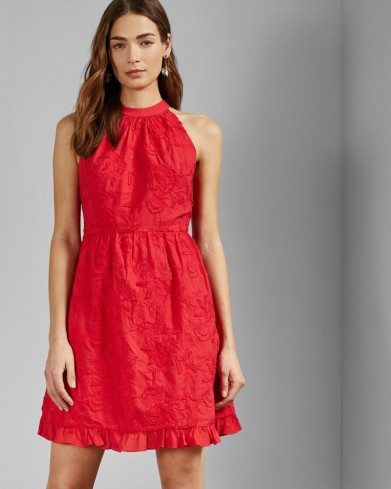 TED BAKER LORENE Halter neck skater embroidery dress in red / embroidered flowers