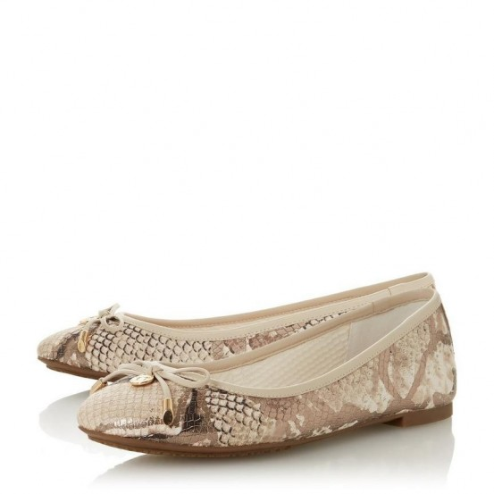 DUNE LONDON Harpar Natural Bow Detail Ballerina Pump | snake print ballerinas