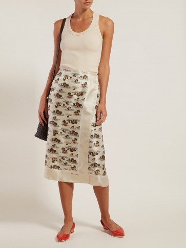 BOTTEGA VENETA Hawaiian-print twill skirt ~ painterly prints