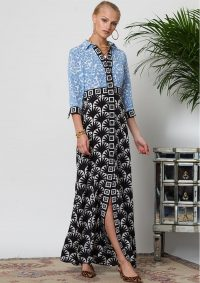The Dressing Room HAYLEY MENZIES LOU LOU LONG SHIRT DRESS – BLUE & BLACK