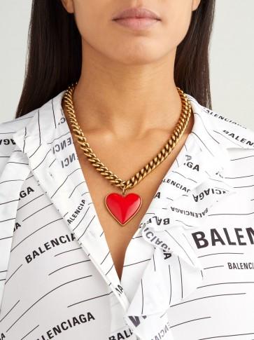 BALENCIAGA Heart pendant curb chain necklace ~ chunky jewellery