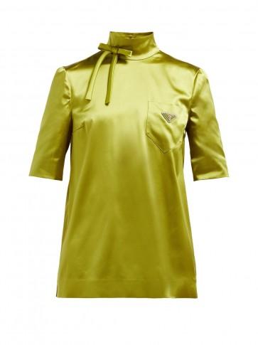 PRADA High-neck silk-blend technical-satin blouse in green