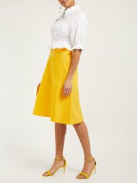 CAROLINA HERRERA High-waist twill midi skirt in Yellow