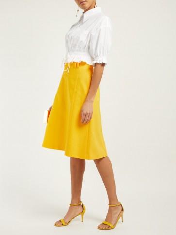 CAROLINA HERRERA High-waist twill midi skirt in Yellow