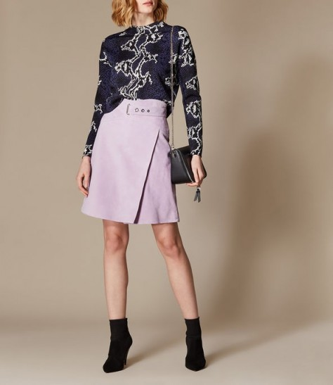 KAREN MILLEN High-Waisted Suede Skirt in Lilac ~ wrap A-line