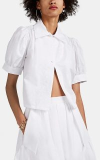 HIRAETH Lee Floral-Embroidered Cotton Puff-Sleeve Blouse in White ~ feminine puffed sleeves