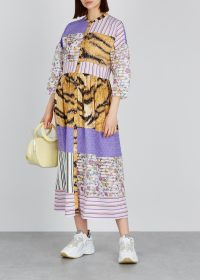 HOFMANN Riva patchwork midi dress. MIXED PRINT FASHION