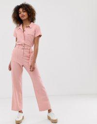 Hollister belted boilersuit in pink