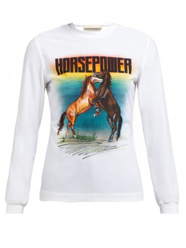 CHRISTOPHER KANE Horse Power-print stretch-jersey top in white