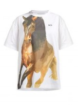 MARQUES'ALMEIDA Horse-print jersey T-shirt ~ animal graphic prints