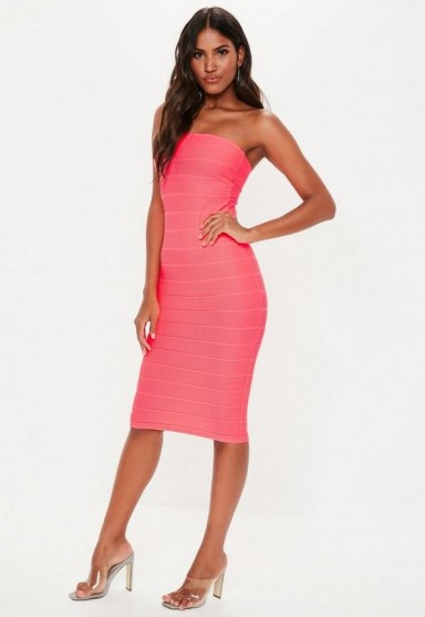 MISSGUIDED hot pink bandeau bandage midi dress ~ bright strapless bodycon