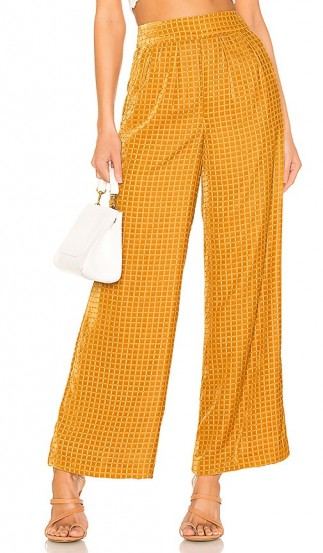 House of Harlow 1960 X REVOLVE Samar Pant in Golden Yellow ~ luxe style wide leg velvet trousers