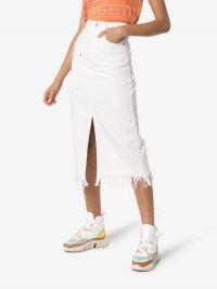 HOUSE OF HOLLAND Frayed-Hem Denim Midi Skirt in White
