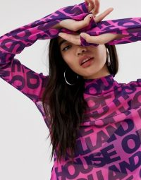 House of Holland logo print mesh top in fuchsia / purple