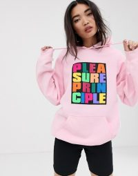 House of Holland Pleasure Principle hoodie in pink – slogan hoodies
