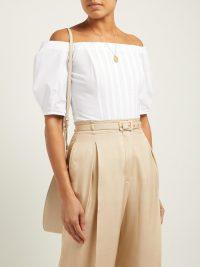GABRIELA HEARST Hurley off-the-shoulder cotton-poplin corset top in white ~ summer bardot designs