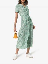 HVN Maria Floral Print Silk Shirt Dress in Green / retro fashion / Harley Viera Newton clothing