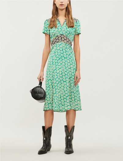 HVN Morgan floral-print silk midi dress in black/green daisy