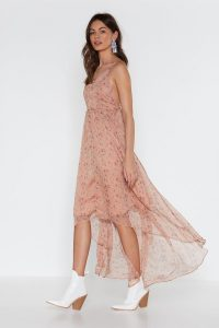 Nasty Gal I Be-leaf in You Floral Maxi Dress in Nude – floaty high-low dresses