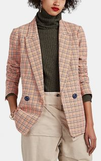 ICONS Checked Cotton-Blend Blazer in Orange ~ classic check jacket
