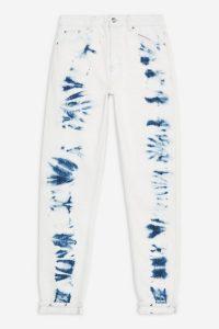 TOPSHOP Indigo Tie Dye Mom Jeans / dyed denim