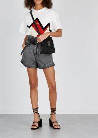 ISABEL MARANT Lucio grey denim mini shorts ~ paperbag waist