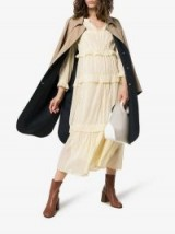 Isabel Marant Étoile Aboni Tiered Cotton Midi Dress in Pastel-Yellow / light coloured boho dresses