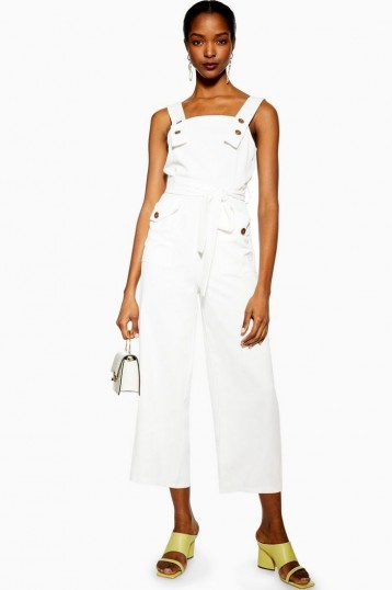 Topshop Ivory Pinafore Button Jumpsuit | casual crop leg jumpsuits