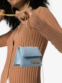 JACQUEMUS blue Le Piccolo mini leather shoulder bag | small chain strap bags