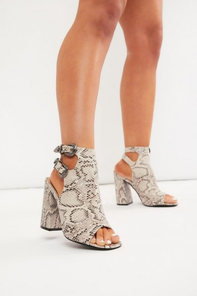 IN THE STYLE JANINKA NATURAL SNAKE PEEP TOE BOOTS ~ glamorous shoe-boot