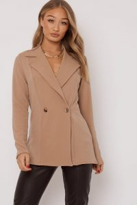 IN THE STYLE JEDDAH CAMEL HORN BUTTON BLAZER ~ light-brown jackets