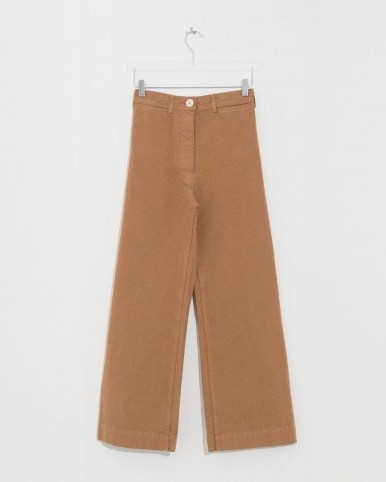 JESSE KAMM cork sailor pants in brown ~ cropped leg trousers - flipped