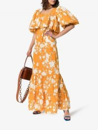 Johanna Ortiz Listen To Your Heart Floral Print Maxi Dress in Orange and White / long vintage style dresses