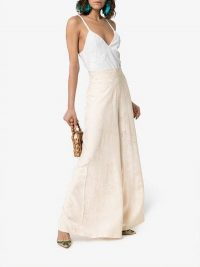 Johanna Ortiz Queen Of Orchids Jacquard Print High-Waisted Wide Leg Trousers in Ivory | luxe party pants
