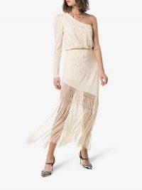 Johanna Ortiz Sevillana Tan Sonriente Fringed Silk Dress in Cream | feminine party look