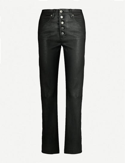 JOSEPH Den straight high-rise leather trousers in black