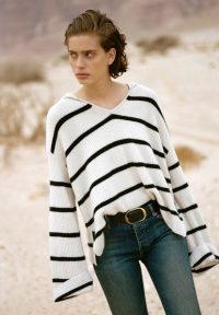 NILI LOTAN JOSIE SWEATER IVORY & NAVY STRIPE | slouchy hooded jumpers