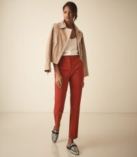 Reiss JOY SLIM COTTON TROUSERS COPPER | casual spring pants