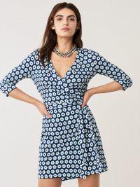 Diane von Furstenberg Julian Silk-Jersey Mini Wrap Dress Desert Poppy New Navy ~ short and chic ~ modern classics