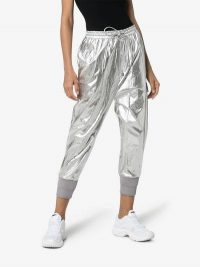 Juun.J Silver Elasticated Cuffs Track Pants | sports luxe