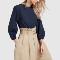 G. Label KALINSKY BUBBLE-SLEEVE BLOUSE in Navy | blue balloon sleeved top