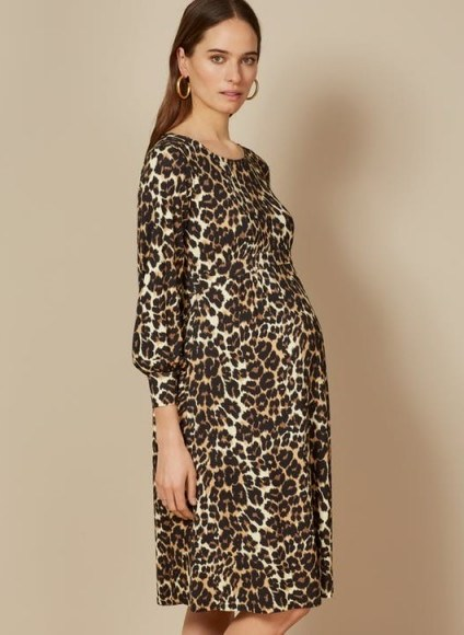 ISABELLA OLIVER KATELYN DRESS LEOPARD PRINT – maternity fashion - flipped