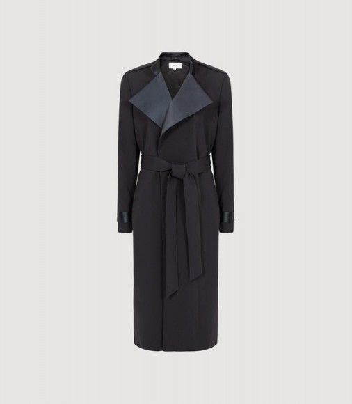 Chic dark-blue belted macs ~ REISS KATJA SATIN DETAILED MAC NAVY