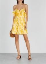 KEEPSAKE Fallen floral-print linen mini dress in yellow / thin strap summer dresses