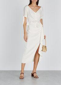 KEEPSAKE Luminous ivory faille midi skirt | ruffled asymmetric skirts