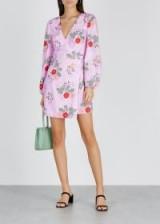 KEEPSAKE Pretty One floral-print satin wrap dress in lilac / feminine spring fashion