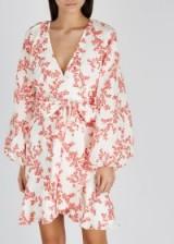 KEEPSAKE White floral-print linen mini dress / feminine wrap dresses