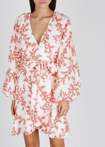 KEEPSAKE White floral-print linen mini dress / feminine wrap dresses