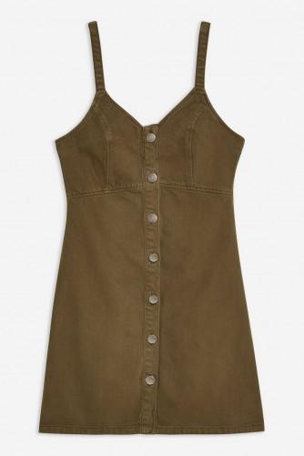 Topshop Khaki Button Denim Bodycon Dress